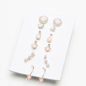 NEW Free People Stoned Piercing Earring Set Pink
